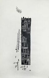 Leonard Baskin Castle Street Woodcut Print On Rice Paper Signed And Numbered