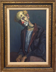 Unknown Artist Clown In Blue Oil On Canvas Signed L.r.