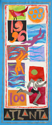 Judith Bledsoe Atlanta Olympics - Swimming And Running Pastel And Collage On P