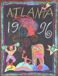 Judith Bledsoe Atlanta Olympics - Cat And Torch Pastel And Collage On Paper S