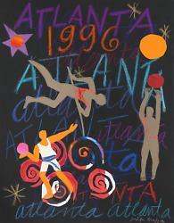 Judith Bledsoe Atlanta Olympics - Track And Field Pastel And Collage On Paper