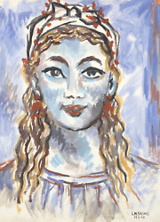 Laurent Marcel Salinas Portrait Of Woman With Bow Gouache On Paper Signed L.r