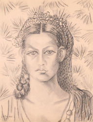 Laurent Marcel Salinas, Portrait Of Woman With Floral Headscarf 321, Charcoal On