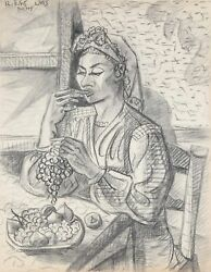 Laurent Marcel Salinas, Woman Eating Grapes 323, Charcoal On Paper, Signed U.l.