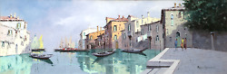 Marco Foscarini Fishing Village Oil On Canvas Signed L.r.