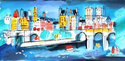 Charles Cobelle, View Of Notre Dame From Seine 1, Acrylic On Canvas, Signed L.r.