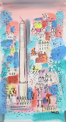 Charles Cobelle, Luxor Obelisk In Paris Cityscape 1, Acrylic On Canvas, Signed L