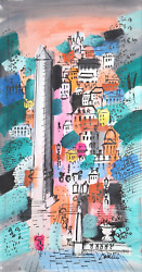 Charles Cobelle, Luxor Obelisk In Paris Cityscape 2, Acrylic On Canvas, Signed L