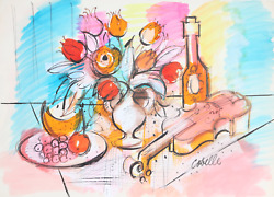 Charles Cobelle, Still Life With Wine And Violin 3, Acrylic On Paper, Signed L.r