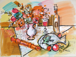 Charles Cobelle, Still Life With Fish And Recorder, Acrylic On Paper, Signed L.r