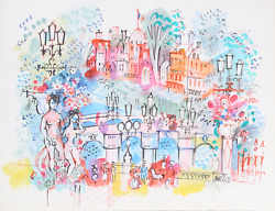 Charles Cobelle Panthandeacuteon And Bridge 1 Acrylic On Paper Signed L.r.