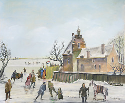 J. Van Buiksloot French Village In Winter 2 Oil On Canvas Signed L.r.