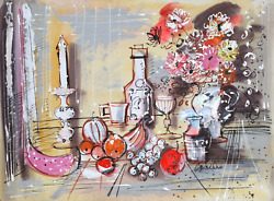 Charles Cobelle, Still Life With Wine And Fruit 2, Acrylic On Paper, Signed L.r.