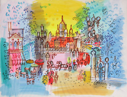 Charles Cobelle Montmartre Acrylic On Paper Signed L.r.