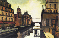 Jacques Pergel European City And Canal Oil On Canvas Signed Lower