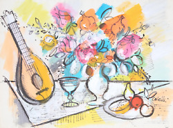 Charles Cobelle, Still Life With Mandolin And Flowers 3, Acrylic On Paper, Signe
