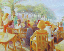 Unknown Artist French Tropics Cafe Oil On Canvas Mounted To Wood Signed And039andr
