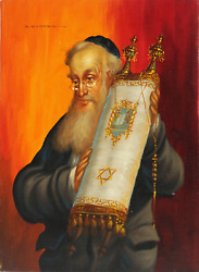 Abraham Straski Rabbi With Torah 4 Oil On Canvas Signed And Dated