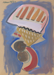 Moshe Rosentalis, Abstract Still Life, Gouache On Board, Signed And Dated
