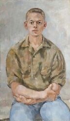 Stanley Mitruk Portrait Of Young Man Oil On Canvas Signed And Dated Verso