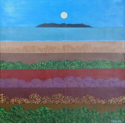 Stanley Edwards Beach Landscape In The Evening Acrylic On Canvas Signed And D