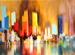 James Sherman Cityscape 7 Oil On Canvas Signed L.r.