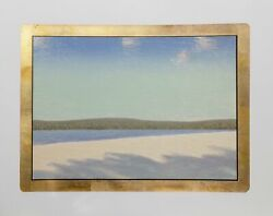 John Beerman Frozen River Hand-colored Etching With 22k Gold Leaf Border Sign