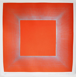 Richard Anuszkiewicz Summer Suite Orange And Silver Etching With Aquatint On