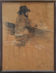 Harry Mccormick, Cowboy At A Bar, Charcoal And Pastel On Paper, Signed L.r.