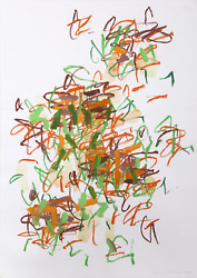 Louisa Chase, Tyger Tyger, Acrylic And Crayon On Paper, Signed And Dated In Penc