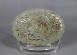Ming Dy. Chinese Old White Jade Carved Dragon W Flower Design Figure Pendant