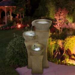 Modern Contemporary New 3 Tier Yard Home Cascade Bowls Led Lights Water Fountain