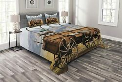 Ambesonne Western Bedspread Photo Of Old Nostalgic Wild West American Cart Carr