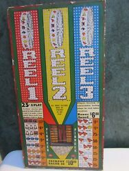 Vintage 1940's/50's Gambling Punch Board On Wood W Original Key Great Graphics