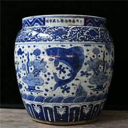 22.4and039and039 China Antique Pot Blue And White Porcelain Pot Old Pottery Cylinder
