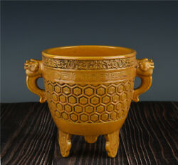 8and039and039 China Antique Censer Yellow Glaze Porcelain Incense Burner Old Pottery