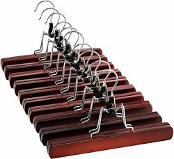 High-grade Smooth Finish Solid Wood Clip Hangers With 360° Swivel Hook, 10 Pack