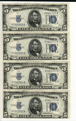 Lot Of 4 Consecutive Serial Numbered 1934 A 5 Silver Certificates Read Descript