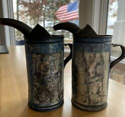 Two Vintage Maytag Oil And Gas Fuel Mixing Tin Cans