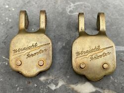 Brass Rifle Sling Straight Shooter Badges Vintage