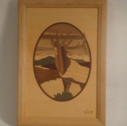 Hudson River Wood Inlay Signed By Nelson - Elk Deer-made From Wood Marquetry