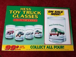 Vintage Hess Advertising Sign 1990s Hess Toy Truck Glasses 18 X 12 Excellent