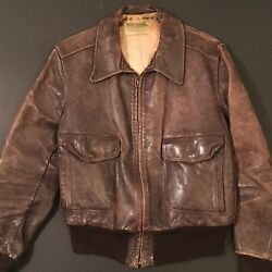 Vintage 40s Californian Horsehide Jacket A2 Bomber 42 Ww2 Motorcycle Patina