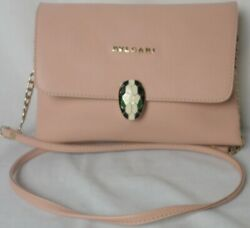 Bvlgari Blush Pink Leather Fold Flap Gold Evening ? Crossbody Shoulder Bag MINT $197.77