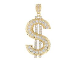 10k Or 14k Yellow Gold Hip-hop Iced Out Large Heavy Dollar Sign Pendant