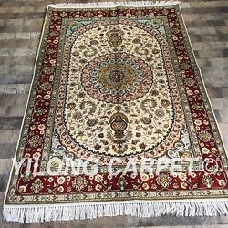 Yilong 4'x6' Handknotted Silk Carpet Furniture Antistatic Home Indoor Rug Zw233c