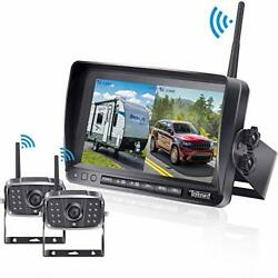 Fhd 1080p Digital Wireless Dual Backup Camera 7and039and039 Dvr Monitor Kit High-speed Rea