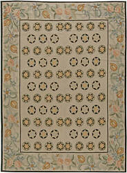 Contemporary Bessarabian Floral Light Red Green And Beige Carpet N11028