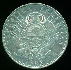 Argentina Silver Coin 1 One Peso Patacon 1882 Crown / Dollar Size Xf+ Cond