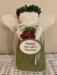 Hearts And Ivy Green Angel W/ Bouquet And Friends Are Lifeand039s Treasures Oval New